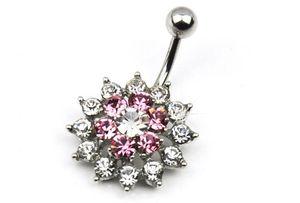 2017 popular por atacado de moda de prata pólo colorido strass flor piercing no umbigo anéis para mulheres body jewelry