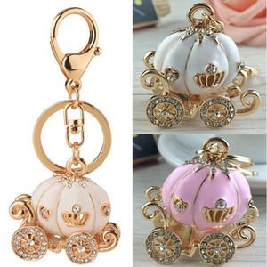 Lovely Pink White Pumpkin Carriage Crystal Pendant Charm Purse Handbag Llavero Llavero del coche del banquete de boda del cumpleaños del regalo creativo