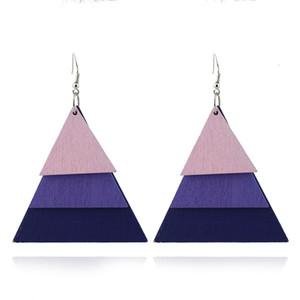 геометрический треугольник многослойные деревянные серьги падение мотаться Стад earrng женщины мода серьги анти аллергия серьги синий фиолетовый серый Оптовая
