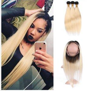 Nouveau Arrivée 8A Péruvienne Vierge Cheveux Faisceaux Droite Deux Ton 1b 613 Blonde Ombre Tissage De Cheveux Avec 360 Dentelle Frontale Fermeture