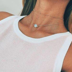 Joli pendentif en cristal naturel Collier ras du cou multi-couche Perle Boho alliage d'or à chaîne courte Colliers Femmes Bijoux Accessoires de mode cadeau