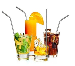 304 Stainless Steel Drinking Straw with Cleaning Brush for Cups Durable Reusable Metal Straight Bent Drinking Straws