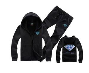 Новое предложение алмазов со мужская мода с капюшоном пуловер свитер хип-хоп скейтборд плюс бархат толстовки случайные пальто