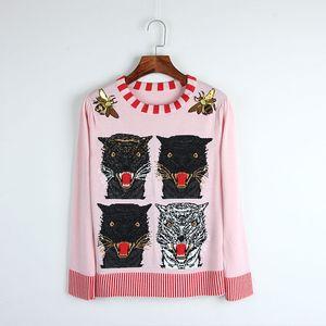 Envío gratis rosa de manga larga para mujer suéteres Tiger Print abeja bordado lentejuelas jerseys mujeres blusas de inverno feminina DH063