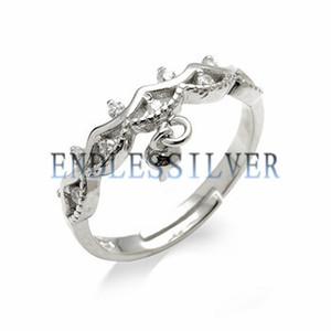Корона Дизайн кольца Pearl Настройки Циркон 925 Выводы Pearl Ring стерлингового серебра мотаться для Pearl партии