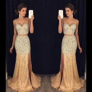 2019 New Champagne Due pezzi High Split Prom Dresses Backless Major Beading Sweetheart Blingbling Beaded Crystals Mermaid Evening Gowns