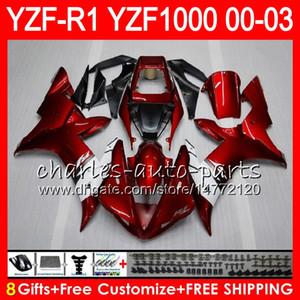 8Gift 23Color Body Per YAMAHA YZF1000 YZFR1 02 03 00 01 rosso nero YZF-R1000 62HM9 YZF 1000 R 1 YZF-R1 YZF R1 2002 2003 2000 2001 Carena