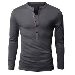 Оптово Уникальная майка мужчин однобортный V шеи длинным рукавом Хенли рубашки Европейская мода Темно-серый Tee Shirt Мужчины футболку XXL