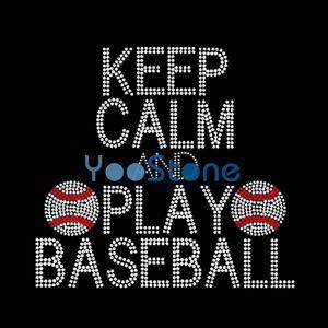 Сохраняйте Спокойствие И Играть В Бейсбол На Железо На Горный Хрусталь Передачи Железа На Исправление Мотив Горячей Исправить Аппликация