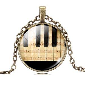 Atacado-Gargantilha NecklaceSliver / Bronze Chapeado Piano e Música Nota Padrão Colar Pingente para Mulheres