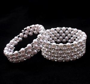 Braccialetto di cristallo di alta qualità elastico braccialetto di perle braccialetti di nozze Bridal gioielli strass Bangle per le donne braccialetti di partito