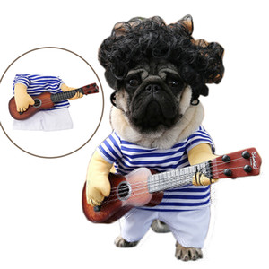 Funny Dog Costumes Guitar Player Cosplay Clothing Dog Costume Halloween Party Costume Clothes For Pet Dogs Cats M-XL