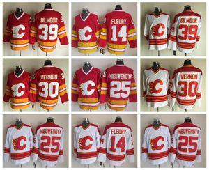 Calgary Flames 14 Maillot Theoren Fleury Hommes 25 Joe Nieuwendyk 30 Mike Vernon 39 Doug Gilmour Jereseys Vintage Rouge et Blanc
