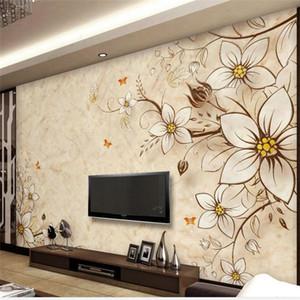 현대 간단한 3D 스테레오 TV 배경 벽 종이 사용자 지정 거실 5D 필름 벽 및 벽지 원활한 벽화