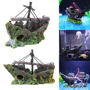 아름다운 수족관 장식품 난파선 항해 배 사선 함 구축함 물고기 탱크 수족관 장식 수지 재료 난파선 일요일 선박