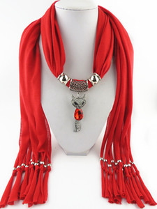 Новейший Дизайн Привлекательный Фокс Подвеска Шарф Осень Зима Женщины Шарфы Ожерелье Кисти Шарф Ювелирные Изделия Платок 11 Цветов
