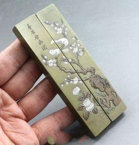 Chinesischer alter Messing geschnitzter alter Blumen-Verein fasst soild PaperWeight-Papier-Gewicht zusammen
