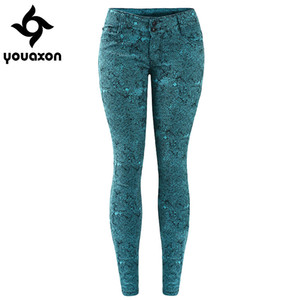Wholesale- 1898 Youaxon Women`s 4 Colors High Street Low Waist Stretch Skinny Denim Jeans For Woman Free Shipping