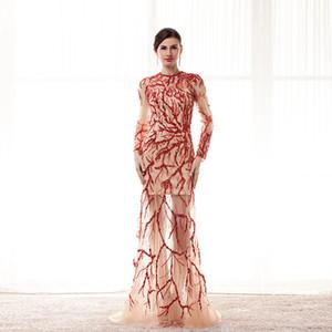 Long Sleeve Evening Dresses Jewel Sheer Neckline Elie Saab Evening Gown Sequins Evening classic party dresses Zuhair Murad Prom Dresses 2017