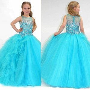 2018 Vert menthe Ice Blue New New Girl Pageant Robes Avec Strass Ras Du Cou Tulle Volants Perlés Top Princesse Fille Fleur Robes
