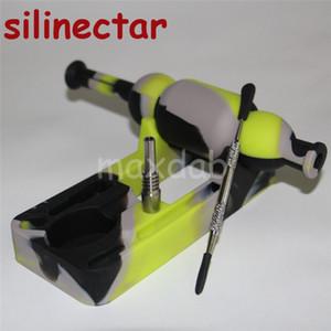 Atacado Silicone Néctar 10mm titânio masculino pregos dabber ferramentas silicone Rig bongos silicone néctar colecionador SiliNectar 5 ml frasco de silicone