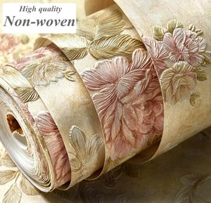 Fondos de pantalla en relieve 3D moderno europeo fondos de pantalla de fondo romántico de la flor para la sala de estar dormitorio Damasco rollo de papel tapiz floral de escritorio