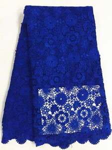 Most popular royal blue flower design african water soluble lace fabric french guipure lace for party dressing RW8-3