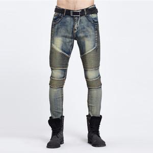 Wholesale-2016 Men's Cargo Jeans Elastic Waist Jean Pants High Quality Tactical Denim Multi Pocket Male Trouser Cargo Skinny Jeans for Men