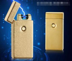 USB는 슬림 더블 아크 방풍 라이터 선물 상자 창조적 인 개성 전자 담배 라이터 10 색 아크 펄스 충전