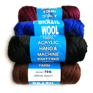 Precio barato 10 rollos / lote 100% acrílico mano y máquina de tejer hilo mezclado escala pelo brasileño de lana