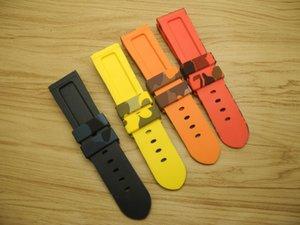 Giawoder watchband 24mm Camouflage fibbia fibbia cinturino in silicone cinturino in silicone (22mm Gomma giallo subacqueo blu rosso arancione arancione senza fine) ocsww