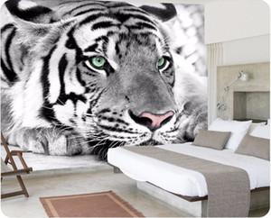 photo papier peint Tigre noir et blanc peintures murales animalière entrée chambre salon canapé TV fond d'écran mural papier peint
