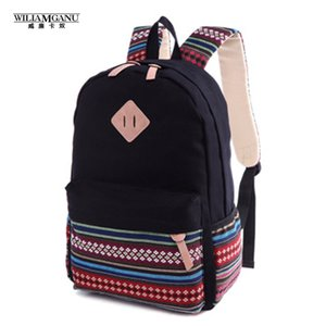 Wholesale- WILIAMGANU Women Backpack for School Teenagers Girls Vintage Stylish Ladies Backpack Female Purple Dotted Printing High Quality