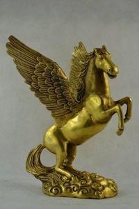 Коллекционирование старые украшенные ручной работы меди резьба Пегас летающая лошадь статуя