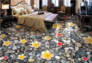 adesivos de piso de vinil 3d murais de parede papel de parede Magnolia flor pedra caindo quarto piso 3d