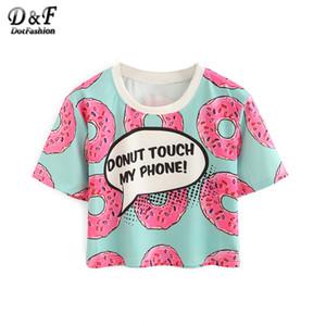 Wholesale- Dotfashion Frauen Kontrast mit Rundhalsausschnitt Donut Print Crop Tops Sommer-Art-nette 2016 neue beiläufige Damen-T-Shirts Kurzarm T-Shirt