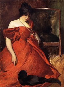 Emoldurado jovem mulher no vestido vermelho com seu gato de estimação preto, Pure Hand Painted Figura Art Pintura A Óleo Sobre Tela. Vários tamanhos Disponíveis zhongguo