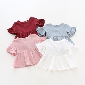 Compras en línea del niño verano mini vestido con volantes de la manga de los vestidos ocasionales del bebé del color sólido de 4 colores de moda para bebés vestidos de niña 17060202