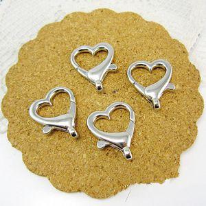 Gran calidad buena Bronce antiguo / tono plateado en forma de corazón ganchos de cierre de langosta conector colgante encanto encontrar, accesorios de bricolaje joyería