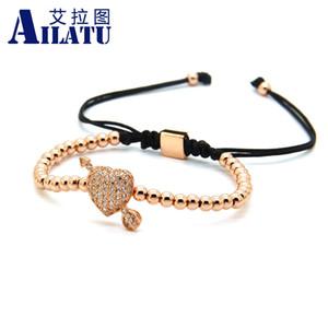 Ailatu Gioielli per coppie all'ingrosso Una freccia attraverso il cuore d'amore Clear Cz Beads Wedding Bracelet