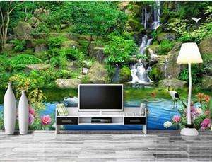 Fondos de pantalla personalizados en 3D para la sala de estar Castle Peak Green Water Papel pintado mural 3d behang para o 3