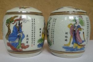 İpek üzerinde Çin kaydırma boyama koleksiyonu: Su marjı1 Çift Eski İşi Jingdezhen Porselen Boyama Sekiz Ölümsüz Depolama Pot