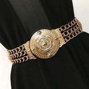 Al por mayor-oro de la manera tallada correa de la cintura cadena de metal para mujeres decoración del vestido de fiesta cinturones elásticos faja ancha de alta calidad femenina