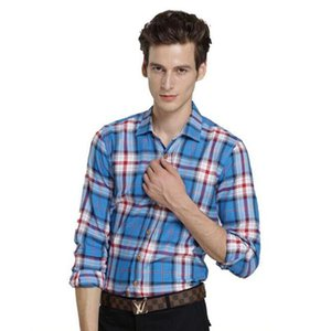 Wholesale- UYUK  Men's Plaid Shirt spring autumn Men long sleeve slim cotton shirts