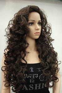 2017 super charming fashion sexy cosplay Dark Chocolate synthesis of female wavy long curly woman's full wig
