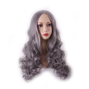 WoodFestival femmes gris perruque longue perruque bouclée fibre synthétique lolita perruque dames naturelles pas cher perruques de cheveux charmant costume