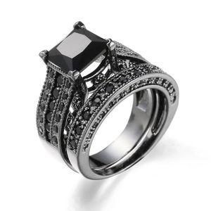 Fashion Fashion Big Two-in-One Pietra Blu Femme Black Ring Sets Engagement Promise Bague Beat Europa Anelli nuziali Donne Anelli Sfbon