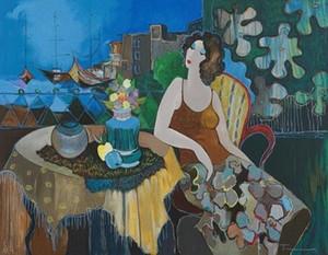 Encadré Itzchak Tarkay Regardant, peinture à l'huile de portrait abstrait abstraite peint à la main peinture à l'huile de mur sur la taille de la toile.