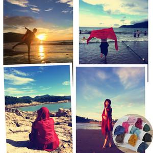 Sciarpa spiaggia Sarong Sciarpe antivento Cotton Beach Coperta Casual Moda rotonda Bikini Cover Ups Beachwear Turbante 23 colori Con borsa