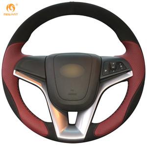 Mewant Şarap Kırmızı Deri Siyah Süet Araba Direksiyon Kapağı Chevrolet Cruze 2009-2014 için Aveo 2011-2014 Holden Cruze 2010